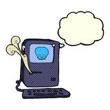 Computer virus cartoon  with thought bubble Royalty Free Stock Photo