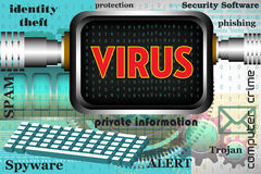 Computer virus. Colorful background with computer keyboard, computer screen and the word virus written on the computer`s screen. Computer virus theme Royalty Free Stock Photos