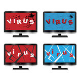 Computer virus concept. Set of four computer monitors with virus concept, isolated on white background.EPS file available royalty free illustration