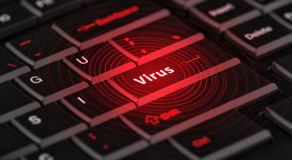 Computer virus on enter key. Computer virus from internet with message on enter key of Royalty Free Stock Photography