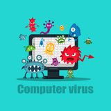 Computer virus internet security attack, vector illustration royalty free stock photos