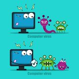 Computer virus internet security attacks. Protect your computer with antivirus, virus in a fright. Vector illustration stock image