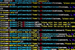 Computer virus and Mal ware attack. And screen of source code and abstract technology background, Developer and programming with coding Royalty Free Stock Images
