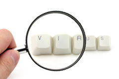 Computer virus scan. Letter keys close up, concept of computer virus scan Royalty Free Stock Photo