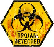 Computer virus. Trojan / computer virus alert sign,  illustration Royalty Free Stock Images