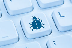 Computer virus Trojan network security blue internet keyboard Royalty Free Stock Image