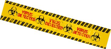 Computer virus. Warning sign, grungy ,industrial style, vector illustration Royalty Free Stock Image