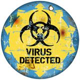 Computer virus. Warning sign, retro style, vector eps 10 Royalty Free Stock Images