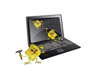 Computer viruses attack the notebook. Computer viruses and give it a laptop and block work Royalty Free Stock Photos
