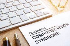 Computer vision syndrome cvs diagnosis. Computer vision syndrome cvs diagnosis and keyboard royalty free stock photo