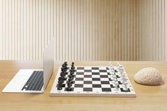 Computer vs brain desktop Royalty Free Stock Photos