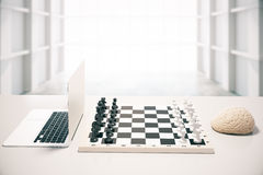 Computer vs brain white room. Computer vs human brain concept with two of the previously mentioned playing chess in white room. 3D Rendering Royalty Free Stock Image