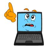 A computer with a warning expression and pointing finger. Illustration Royalty Free Stock Photo