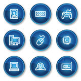 Computer web icons, blue circle buttons Stock Images