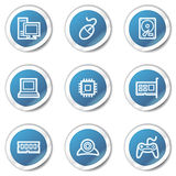Computer web icons, blue sticker series Royalty Free Stock Photography