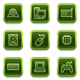Computer web icons, green square buttons series Stock Images
