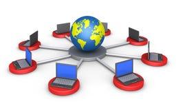 Computer werden an die Welt angeschlossen stock abbildung