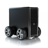 Computer on wheels Royalty Free Stock Images