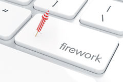 Computer white keyboard button with firework rocket concept. Computer white keyboard with firework rocket concept on enter button. Holiday concept 3d rendering Stock Photo