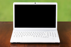 Computer White Laptop Front Desk Royalty Free Stock Images