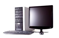 Computer With Flat Screen Royalty Free Stock Photos