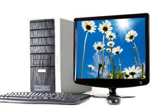 Computer With Flat Screen Royalty Free Stock Photography