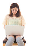 Computer and woman. Young woman to see a computer Stock Photos
