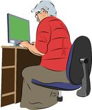 Computer woman vector illustration