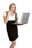 Computer Woman. Beautiful happy woman using computer Stock Image