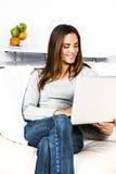 Computer woman Royalty Free Stock Image
