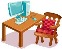 Computer on wooden desk. Illustration of isolated computer on wooden desk stock illustration