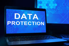 Computer with words data protection. Royalty Free Stock Photo