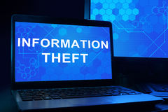 Computer with words Information Theft. Royalty Free Stock Images