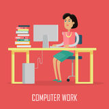 Computer Work Concept Illustration In Flat Design. Stock Image