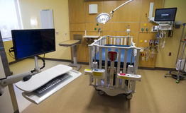 Computer Work Station in Childrens Hospital Medical Recovery Roo Stock Photo