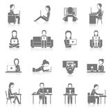 Computer Working Icons Set Stock Photos