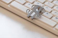 Computer working keyboard with american dollar close-up. The concept of online business. Purchase of crypto currency, infobusiness stock photos