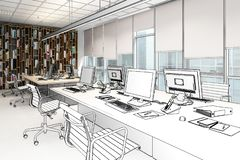 Computer Workplace Inside a Business Center drawing - 3d illus stock illustration