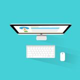 Computer workstation top view workplace flat icon Royalty Free Stock Photo