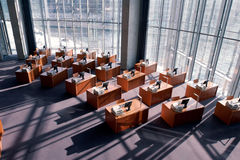 Computer workstations in a modern library Stock Photography