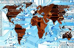 Computer world - connectivity. Abstract image (illustration) of the connectivity - communiction - network. Continets isolated - clipping path vector illustration