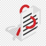 Computer worm, document destruction isometric icon. 3d on a transparent background vector illustration Stock Photos