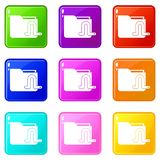 Computer worm icons 9 set. Computer worm icons of 9 color set isolated vector illustration Royalty Free Stock Images