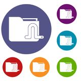 Computer worm icons set. In flat circle reb, blue and green color for web Stock Image