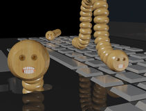 Computer worms on a laptop Stock Photo