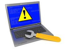 Computer with wrench. 3d illustration of laptop pc with wrench on it. blue screen error message Stock Photo