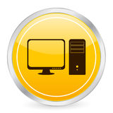 Computer yellow circle icon Royalty Free Stock Images