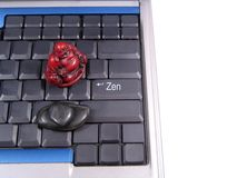 Computer Zen. Buddha on keyboard. Enter key edited to read Zen. All other keys erased Royalty Free Stock Photos
