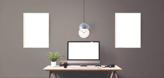 Computeranzeigen- und -bürowerkzeuge auf Schreibtisch Stockbilder
