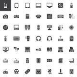 Computerapparaten, geplaatste hardware vectorpictogrammen royalty-vrije illustratie